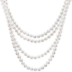 HinsonGayle Glamour Collection Handpicked 6.5-7.0mm Ultra-Luster White Cultured Pearl Rope Necklace (82 Inches) | Jewellery Pin