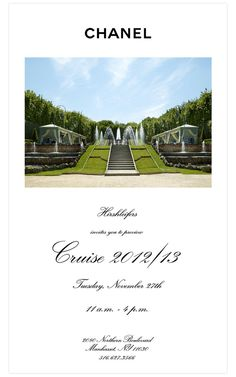 We invite you to preview Chanel Cruise 2012/13!