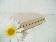 Retro Ivory Vinyl with Gold Clam Shell Travel by DivineOrders