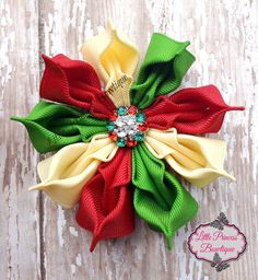 Christmas Flower Christmas Bow Christmas by LilPrincessBowtique8