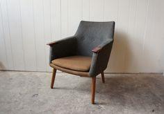Danish grey wool armchair