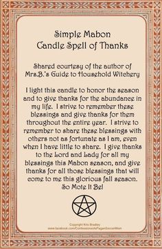 Mabon Candle Spell ~* True Equinox in Northern Hemisphere: Tuesday September…