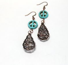 Peace Sign Earrings Turquoise and Copper by BlingNThingsbyPenny, $18.00 #BlingNThingsbyPenny #Peace #Turquoise #Earrings