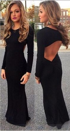 Charming Prom Dress,Black Backless Prom Dress,Long Evening Formal Dress,Women Dress