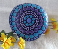 """Mandala Stone Hand Painted River Rock ~ Energy ~ Meditation """"SERENITY"""" ~ Calm Peaceful Soothing Colors Dot Painting by WrenStones on Etsy"""