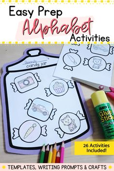 This printable activity pack includes templates, writing prompts and crafts for every letter of the alphabet. Use for reinforcing letter recognition and formations. All activities are easy to prep, and work on a variety of skills (math, literacy, fine motor). Use these activities while you teach each letter, save them for when you need a quick and easy activity for your students, add to your emergency sub plans, letter of the week/day or for your ABC Countdown festivities. Kindergarten Centers, Literacy Skills, Kindergarten Literacy, Math Centers, Alphabet Activities, Hands On Activities, Literacy Activities, Letter Recognition, Childhood Education