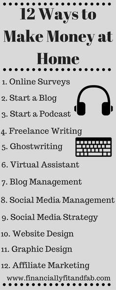 12 Ways to Make Money At Home | Online Side Hustles | Make Money Fast