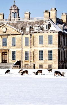 Belton House in winter, England