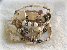 Handmade Vintage White Gypsy Bangle Bracelet Stack~ By QueenBe