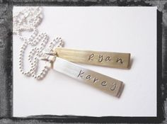 Hand Stamped Flat Bar Necklace  Personalized by LillyEllenDesigns, $38.00