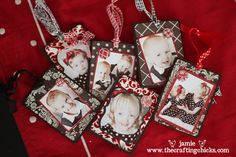 photo ornaments - these would be cute for grandparents!! (I also try to make new ornaments for the kids each year)