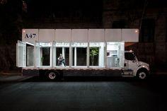 La biblioteca mobile A47 di Alumnos47 e PRODUCTORA, a Città del Messico