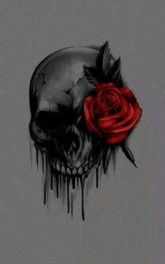 Skull With Rose Tattoo Design Skull Roses Tattoo, Skull Tattoos, Body Art Tattoos, Sleeve Tattoos, Tribal Rose Tattoos, Tattoo Fairy, Totenkopf Tattoos, Geniale Tattoos, Skull Artwork