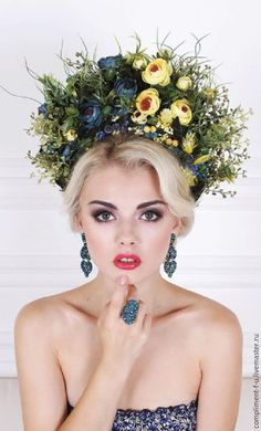 61 trendy bridal hairstyles updo with tiara flower crowns Badgley Mischka Bridal, Floral Headdress, Bridal Hair Updo, Russian Beauty, Floral Hair, Fascinators, Headpieces, Flowers In Hair, Her Hair