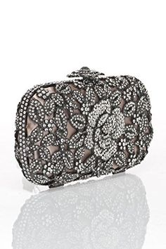 Christine new york crystal caged floral clutch handbag flower and