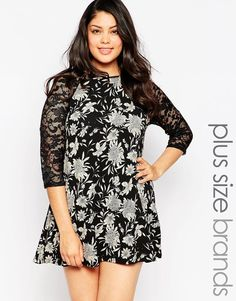 Club+L+Plus+Size+Swing+Dress+With+Lace+Sleeves+In+Mono+Floral+Print