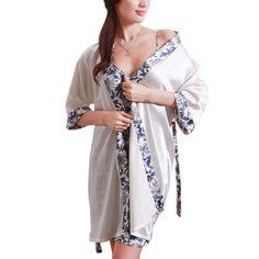 Summer Autumn Women Sexy Sleepwear Blue-and-White Dress Porcelains Ropa Dormir Silk-like Casual Pajamas Robe Sets
