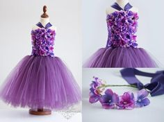 [READY TO SHIP IN SIZE 3-4T] Floral Tutu Dress for Birthday Ballerinas | Lilla Lavender | Perfekt til fotografering