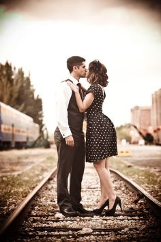 Engaged: Maritza & Kevin at the Gold Coast Railroad Museum Vintage train engagement session by PS Photography Photographie Vintage Couple, Vintage Couple Photography, Photography Photos, Engagement Photography, White Photography, Wedding Photography, Engagement Session, Photography Couples, Couples Vintage