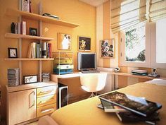 bedroom small saving ideas with beautiful color scheme in a cool orange for teenage boys small bedroom design cool bedroom color schemes and decorations Teen Room Designs, Teenage Girl Bedroom Designs, Small Bedroom Designs, Small Room Design, Teenage Room, Small Teen Room, Cool Teen Rooms, Small Room Bedroom, Bedroom Colors