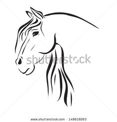 running horse line drawing simple tribal - Google Search