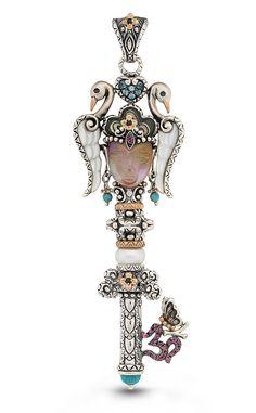 Quan Yin key pendant – Pink Garnet, Abalone, White Mother of Pearl, Fr – Barbara Bixby