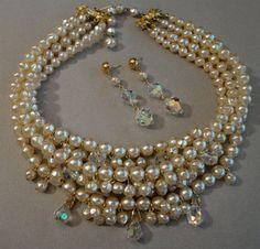 Vintage Baroque Pearl Crystal Necklace 4 by AlexiBlackwellBridal, $89.00