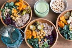 Super Food Bowl- kale, bulgur, roasted veggies (sweet potatoes, brussels, beets), roasted spiced chickpeas, micro greens and sprouts, marcona almonds, & avocado lime dressing