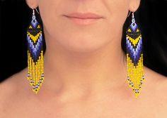 Beaded Native American Earring Patterns | Native American Beaded Earrings - Yellow Blue Black. Long Dange Fringe ...