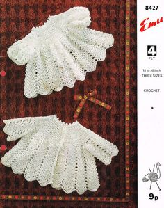 Emu 8427 baby matinee dress set vintage crochet pattern PDF instant download