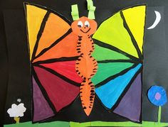 """About this School Project (Color Wheel Butterflies) - """"We mixed primary colors to make secondary and tertiary colors. Now we know how to mix just about any color we want! We made the color wheels into bright butterflies."""""""