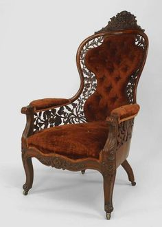 victorian furniture ~American Victorian Carved Rosewood Bergere Arm Chair w/ filigree back amp; sides w/ rust velvet upholstery. attributed to John Henry Belter Victorian Chair, Victorian Furniture, Victorian Decor, Unique Furniture, Vintage Furniture, Furniture Decor, Furniture Design, Geek Furniture, Velvet Furniture