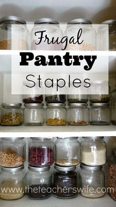 FRUGAL PANTRY STAPLES. Most of us know that eating out can really drain the budget and is not always the most healthy option, but it's so easy to resort to it at the end of the day when the dinner hour strikes. This list of pantry staples might just be what you need to get you headed on the right direction for success at meal prep time. And the best part? They are cheap!