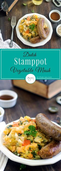This Dutch Stamppot recipe made with potatoes, sweet potatoes, kale, carrots, butternut squash, leek, rutabaga, onions, and garlic is full of nutrients and easy to make. Serve alone for a vegetarian meal or with smoked sausage for a traditional dish. | allthatsjas.com | #vegetables #paleo, #wholesome, #stamppot ,# boerenkool, #hutspot