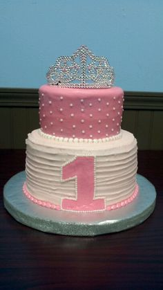 Princess birthday cake- definitely going to do something like this. 2 layers, rainbow/pearly sprinkles, and a tiara on top. Simple enough for even me!