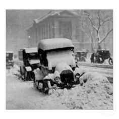 Cars Stuck in the New York City Snow 1917 Print