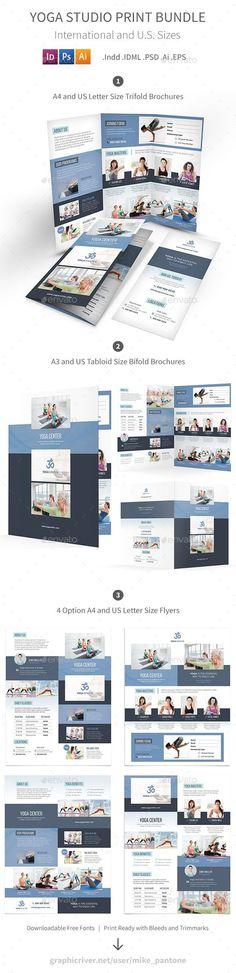 ◍ [Get Free]◽ Yoga Studio Print Bundle Bifold Brochure Bundle Business Care Clean Brochure Design, Branding Design, Flyer Design, Graphic Design Art, Print Design, Graphic Studio, Studio Print, Indesign Brochure Templates, Fitness Flyer