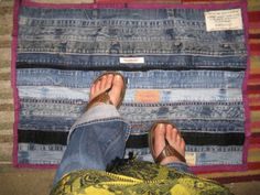 This comfy floor mat is made from recycled waistbands, hem cuffs, and inseams from old jeans. These are often the wasted scraps left after other projects with recycled denim.