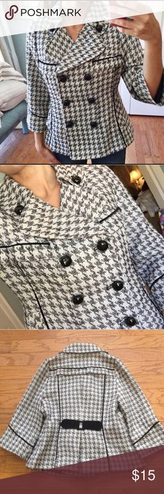 Designer lined jacket Beautiful, fashionable, fun jacket.  Neutral black and white design, 3/4 length sleeves.  Worn a couple of times. Looks new. Joy joy Jackets & Coats