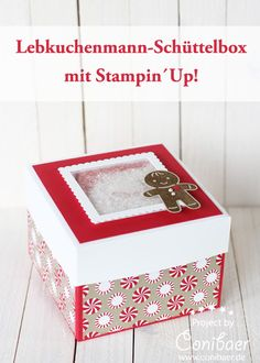 www.conibaer.de Schachtel mit Schüttelfenster und Lebkuchenmann - eine süße Geschenkidee zu Weihnachten #selbstgemacht #handarbeit #basteln #stempeln / Box with a shaker window for christmas #handmade #diy #papercrafts