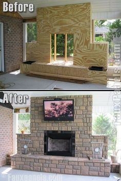 Before/after outdoor fireplace for your DIY list.