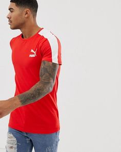 9590fe89 Puma archive T7 Stripe Tee in Red | Clothing, Shoes & Accessories, Men's
