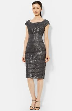 Lauren Ralph Lauren Sequin Mesh Ruched Sheath Dress available at #Nordstrom