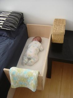 A co-sleeper is a baby bed that attaches to one side of an adult bed. It allows baby to remain close to the parents at night without actually being in the adult bed (which can be dangerous sometime… Baby Crib Diy, Baby Nursery Diy, Baby Crib Bedding, Baby Bedroom, Baby Room Decor, Co Sleeper Crib, Bedside Crib, Space Saving Furniture, Everything Baby