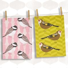 Chirpy Coal Tit & Goldfinch Dishtowels $18.00 http://www.fancyflours.com/product/birdy-robin-thrush-dishtowels/spring-party-theme