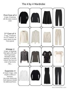 a 4 by 4 travel capsule wardrobe in black, beige and white