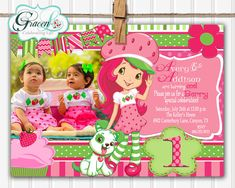 Strawberry Shortcake Invitation Strawberry by GracenLDesigns, $11.99