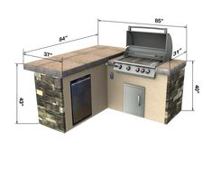 Select Series Backstretch - Outdoor Kitchen Island dimensions tile top