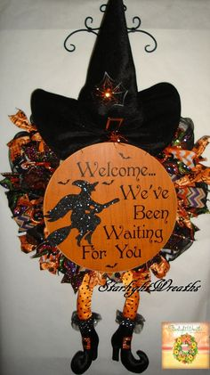 Witch Mesh Wreath/Witch Decor/Witch by StarlightWreaths on Etsy