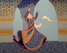 Original Painting Whirling Dervish Sufi Dance Rumi Miniature by AEDesignHouse on Etsy Islamic Art Pattern, Pattern Art, Islamic Paintings, Iranian Art, Turkish Art, Mosaic Art, Sculpture Art, Painting Inspiration, Folk Art